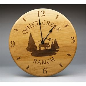"12"" - Hardwood Clocks - Wall - Laser Engraved - USA-Made"
