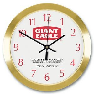 "Gold Tone Metal Wall Clock (10"")"
